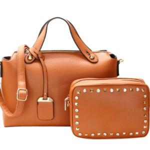 Handbags - 2 Pc Tan Vegan Leather Handbag Set